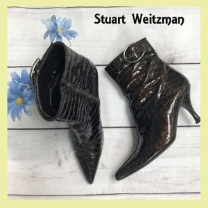 Stuart Weitzman Crocodile Embossed Patent Leather